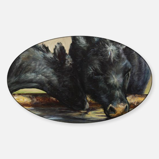 Two Black Angus Sticker (Oval)