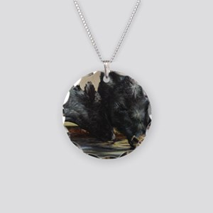 Two Black Angus Necklace Circle Charm
