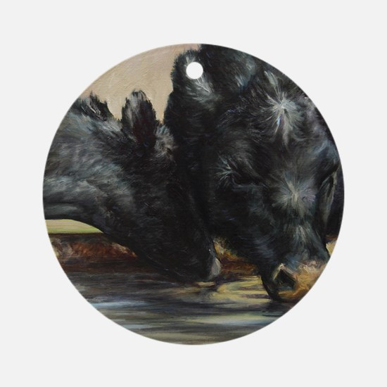 Two Black Angus Round Ornament