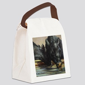Two Black Angus Canvas Lunch Bag