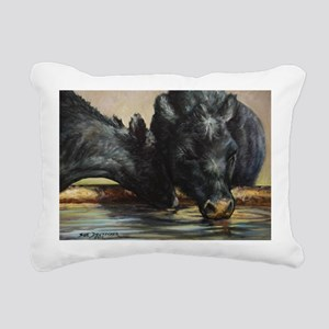 Two Black Angus Rectangular Canvas Pillow