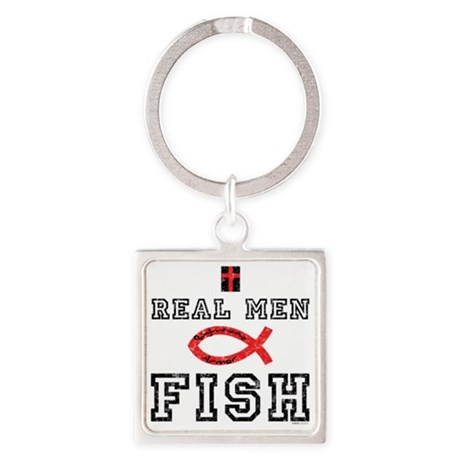Real Men Fish Square Keychain