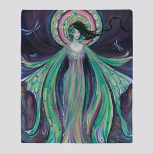 Luna Moth Art Nouveau Fairy Throw Blanket