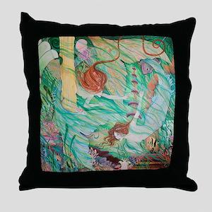Mermaids in Atlantis Throw Pillow