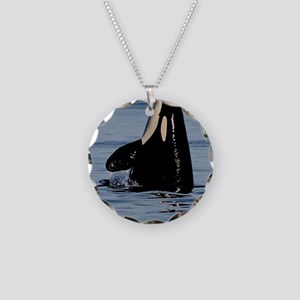 Spy Hopping Orca Necklace Circle Charm