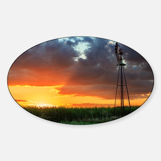 Windmill at Sunset Sticker (Oval)