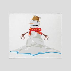Melting Snowman Throw Blanket