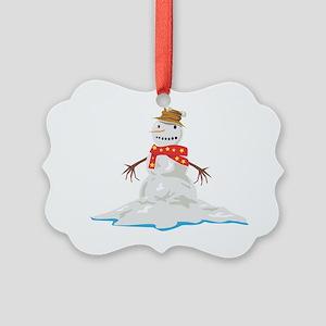 Melting Snowman Picture Ornament