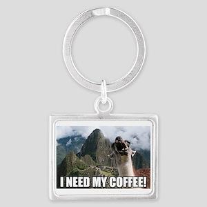 Bossy the Llama coffee Landscape Keychain