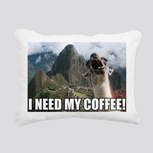 Bossy the Llama coffee Rectangular Canvas Pillow