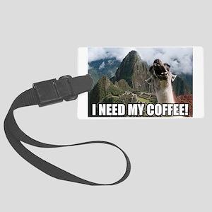 Bossy the Llama coffee Large Luggage Tag
