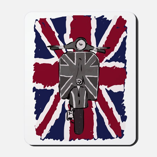 Painted Vintage scooter and union jack a Mousepad