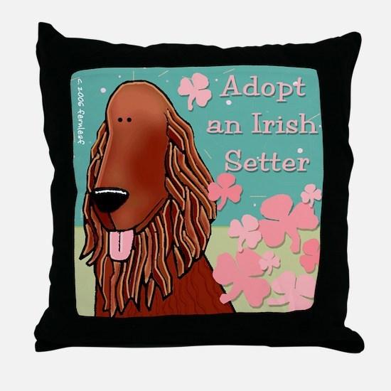 Adopt an Irish Setter Throw Pillow