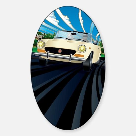 Large Fiat 124 layered Sticker (Oval)