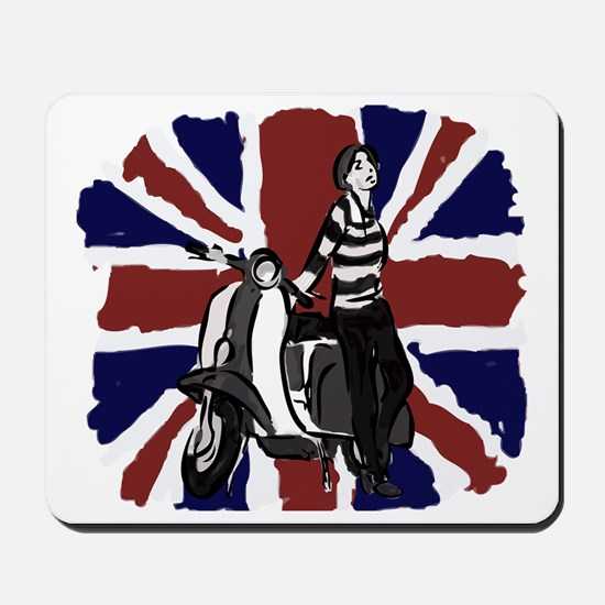 Retro scooter girl and union jack art Mousepad