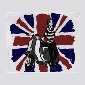 Retro scooter girl and union jack ar Throw Blanket