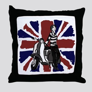 Retro scooter girl and union jack art Throw Pillow