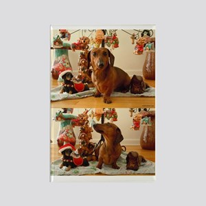 Christmas Dachshund Rectangle Magnet