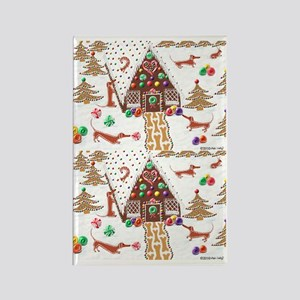 Gingerbread Dachshunds Rectangle Magnet