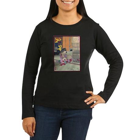 Japanese Art Women's Long Sleeve Dark T-Shirt