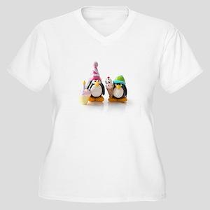 Birthday Party Penguins Women's Plus Size V-Neck T