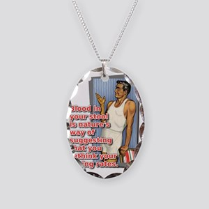 Blood In Your Stool Dirt Bike  Necklace Oval Charm