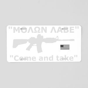 Come and Take White AR-15 R Aluminum License Plate
