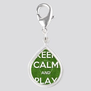 Keep Calm and Play Soccer Silver Teardrop Charm