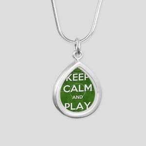 Keep Calm and Play Socce Silver Teardrop Necklace
