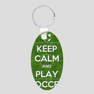 Keep Calm and Play Soccer Aluminum Oval Keychain