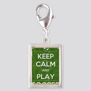 Keep Calm and Play Soccer Silver Portrait Charm