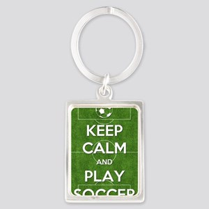 Keep Calm and Play Soccer Portrait Keychain