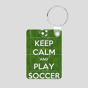 Keep Calm and Play Soccer Aluminum Photo Keychain