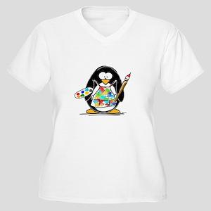 Artist penguin Women's Plus Size V-Neck T-Shirt