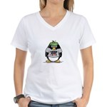 Poker Penguin Women's V-Neck T-Shirt