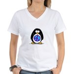 Peace penguin Women's V-Neck T-Shirt