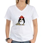 Fireman penguin Women's V-Neck T-Shirt