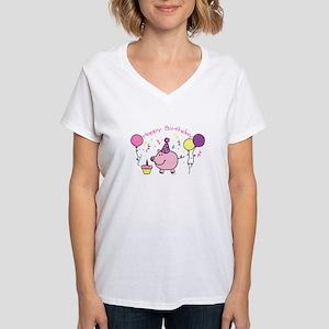 Girl Happy Birthday Women's V-Neck T-Shirt