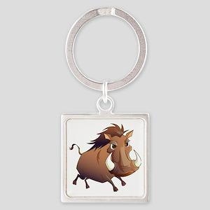 Wild Boar Square Keychain
