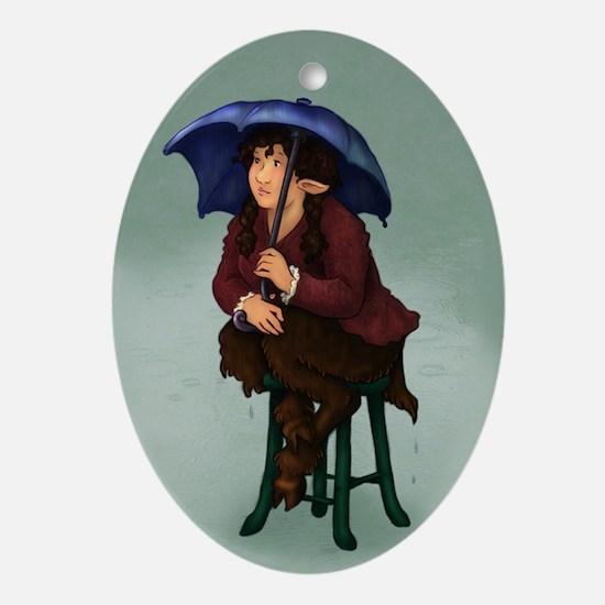 Faun under Umbrella Oval Ornament