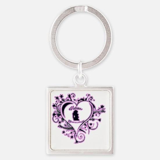 Glam Bunny Heart Logo Pinky Square Keychain