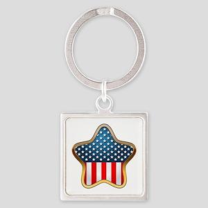 USA Star Square Keychain