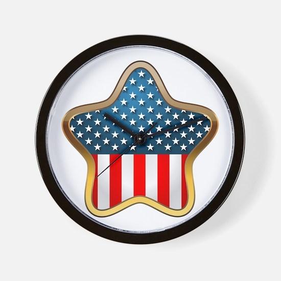 USA Star Wall Clock