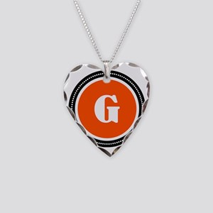 Orange Necklace Heart Charm