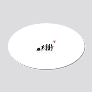 evolution of man with model  20x12 Oval Wall Decal