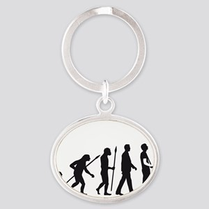 evolution of man with model plane Oval Keychain