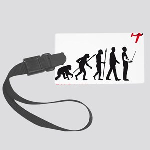 evolution of man with model plan Large Luggage Tag