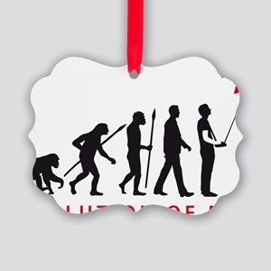 evolution of man with model plane Picture Ornament