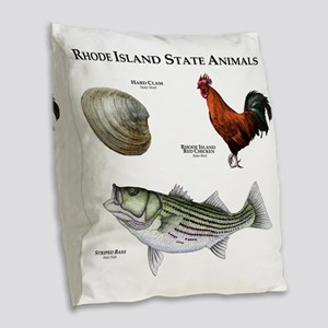 Rhode Island State Animals Burlap Throw Pillow