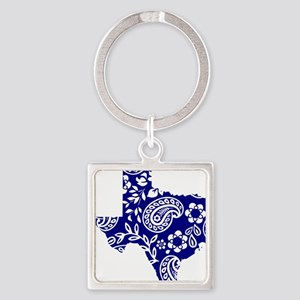 Blue Paisley Square Keychain